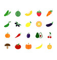 set of colored vegetable icons tomato eggplant vector image