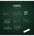 Set of doodles charts with chalk on chalkboard vector image