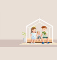 stay home banner happy family staying at home vector image