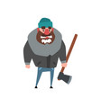 strong woodcutter standing with axe in hand vector image vector image