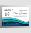 stylish blue wave certificate of appreciation vector image
