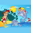 summer beach with kids and dolphins vector image