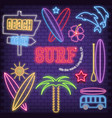surf neon icons vector image vector image