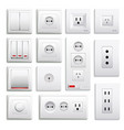 switches and sockets realistic set vector image