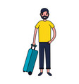 tourist man with travel suitcase vacations vector image vector image