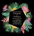 tropical wedding invitation with geometric frame vector image vector image