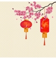 Two red Chinese lanterns on a branch of cherry vector image vector image
