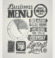 vintage business lunch menu typographic design vector image vector image