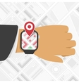 Watch GPS mark on the map background vector image