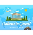 Welcome to Greece poster with famous attraction vector image vector image