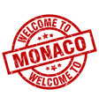 welcome to monaco red stamp vector image vector image