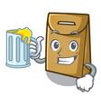 with juice paper bag in cartoon shape vector image