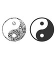 yin yang collage of service tools vector image
