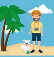 youn man with dog in the beach vector image