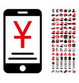yuan mobile payment icon with 90 bonus pictograms vector image vector image