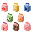 yogurt or milk package set collection mock up vector image