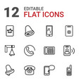 12 call icons vector image vector image