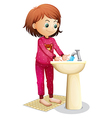 A young woman washing her face vector image vector image
