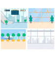 airport elements escalator and runway vector image vector image