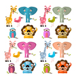 Animals Set - Giraffe Owl Bird Lion and Elep vector image vector image