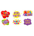 birthday party kids zone label banner set vector image