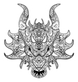 black and white sketch dragon head Zen-tangle vector image