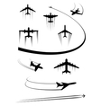 black icons airplanes and cargo planes vector image