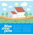 Blue River Farm Flat Style Background vector image