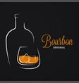 bourbon or whiskey logo brandy bottle and glass vector image vector image