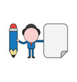 businessman character holding pencil and blank vector image vector image