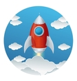 Cartoon retro iron rocket and clouds isolated vector image