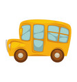 cartoon yellow bus with big windows islated vector image vector image