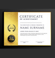 certificate template design with luxury golden vector image vector image