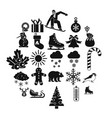 christmas holidays icons set simple style vector image vector image
