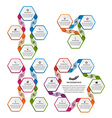 Collection of colorful hexagon infographics Design vector image