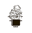 cooking process on pan vector image vector image