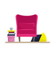 cozy pink armchair with pillows and books vector image