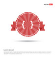 curly bracket icon - red ribbon banner vector image