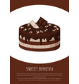 delicious sweet cake of white and dark chocolate vector image vector image