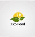eco food with big leaf logo icon element and vector image