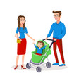 family with a bacarriage colored modern flat vector image vector image