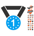 first medal icon with dating bonus vector image vector image