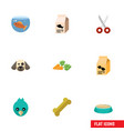 flat icon pets set of fishbowl root vegetable vector image vector image