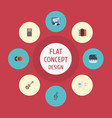flat icons acoustic harmonica tone symbol and vector image vector image