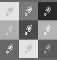 footprint boot sign grayscale version of vector image vector image