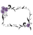 frame with viola flowers vector image