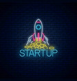 glowing neon sign business project startup vector image vector image