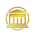 golden institute building symbol logo design vector image