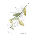 green leaves and branches art watercolor vector image