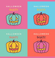 halloween party cards with pumpkins on color vector image vector image